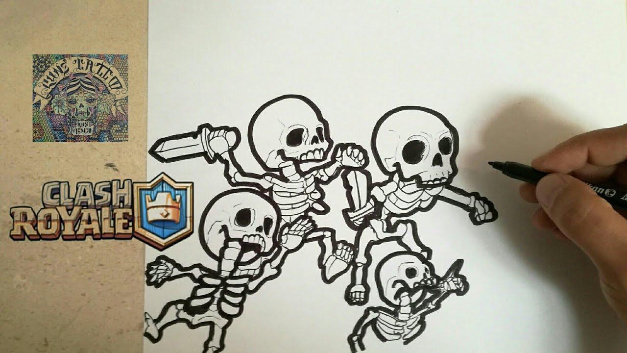 Dibujos Para Dibujar De Clash Royale: COMO DIBUJAR EL EJERCITO DE ESQUELETOS
