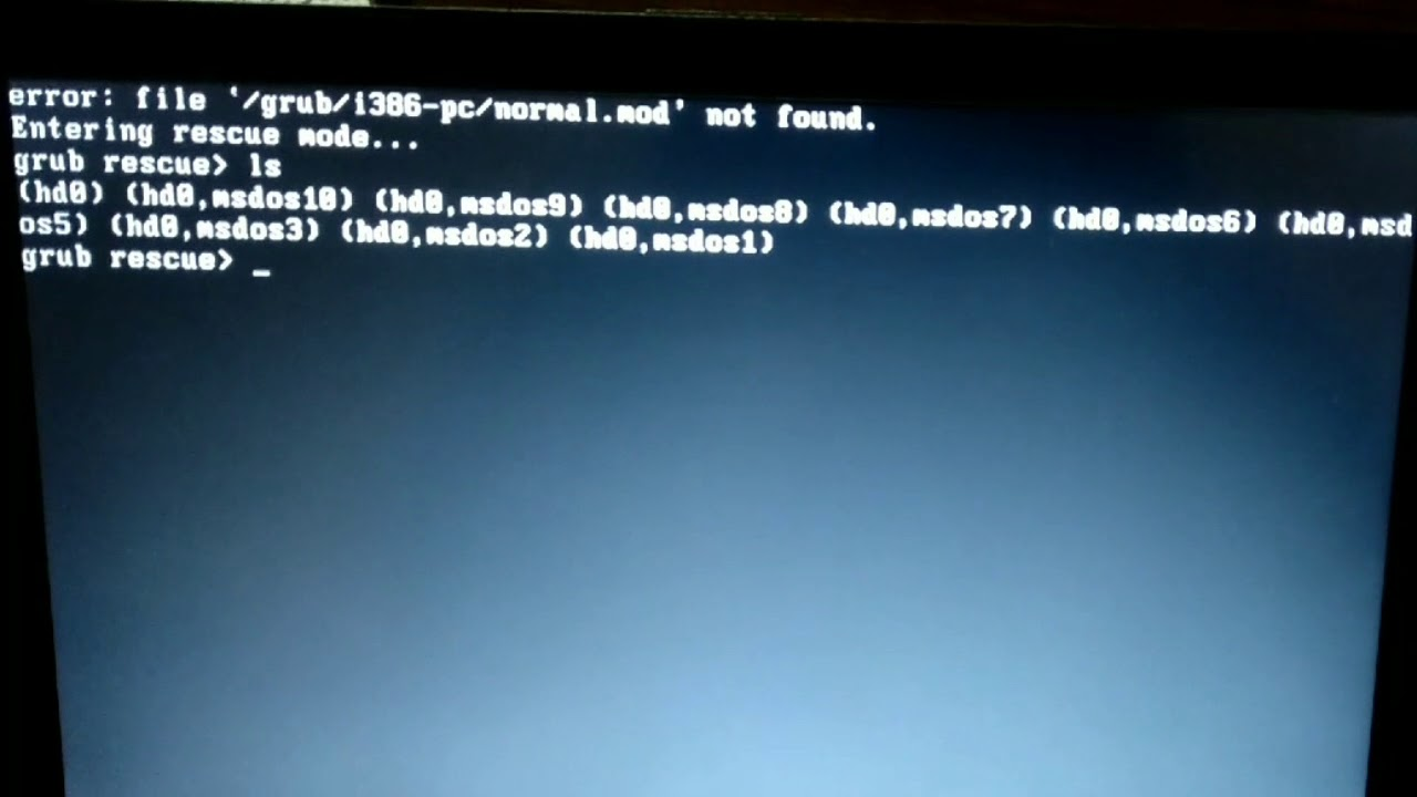 Solved Grub Rescue error Normal mod not found Linux Ubuntu/Kali: file  /grub/i386-pc/normal mod