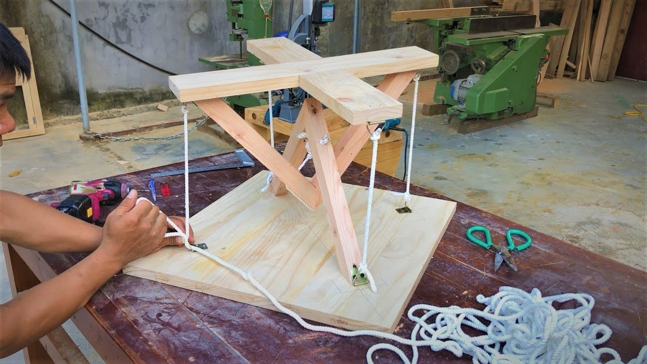 Making Impossible Floating Rope Table, DIY // Amazing Design Ideas Old Pallets Woodworking Projects