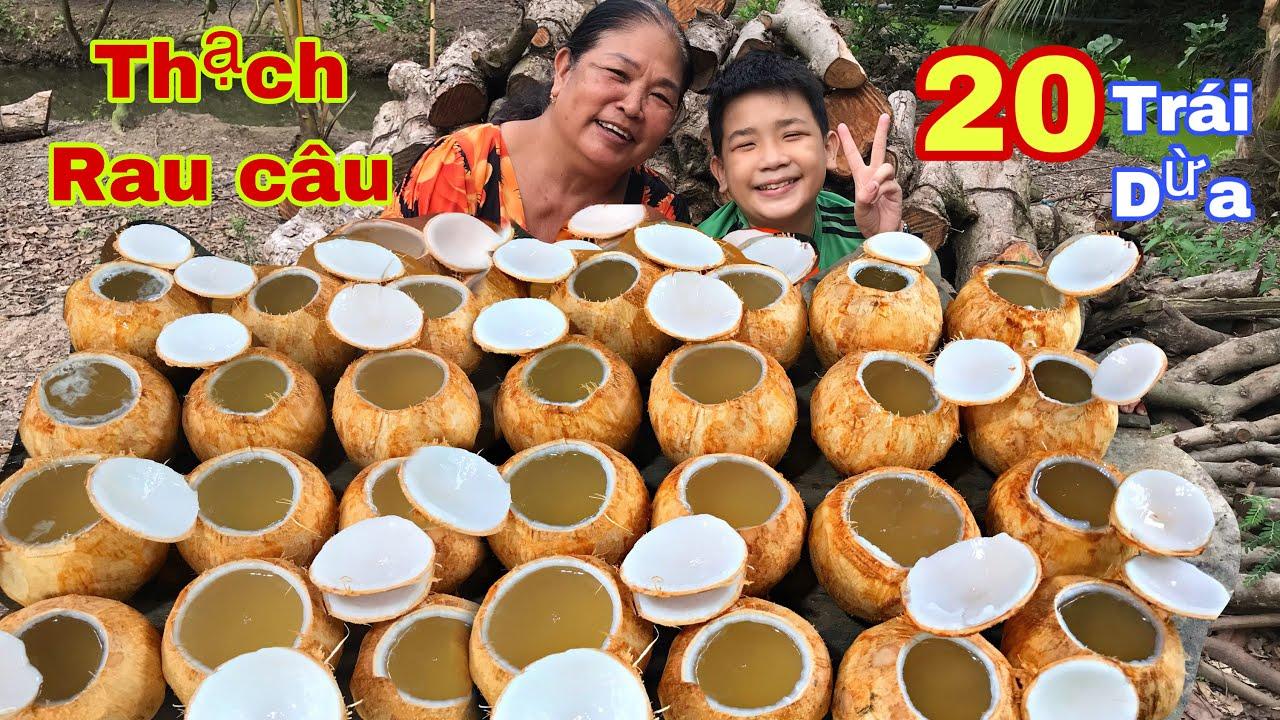 Huỳnh Như Vlogs làm thạch rau câu trong 20 trái dừa ăn mùa dịch và cho hàng xóm ăn lấy thảo