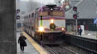 MBTA Commuter Rail trains at Framingham, MA