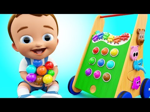 Colors for Children to Learning with Baby Fun Play Wooden Pong Walker Color Balls ToySet 3D Kids Edu