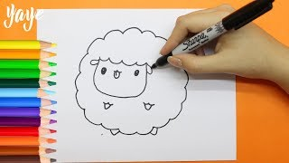 Como Dibujar una Oveja Kawaii/How to draw a kawaii sheep/Yaye