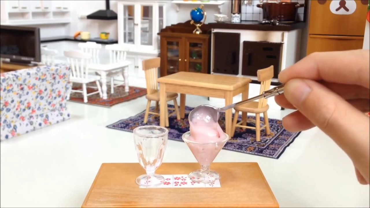 Miniature Cooking #32 フルーチェ(Strawberry Dessert)  미니어쳐 딸기 디저트 요리