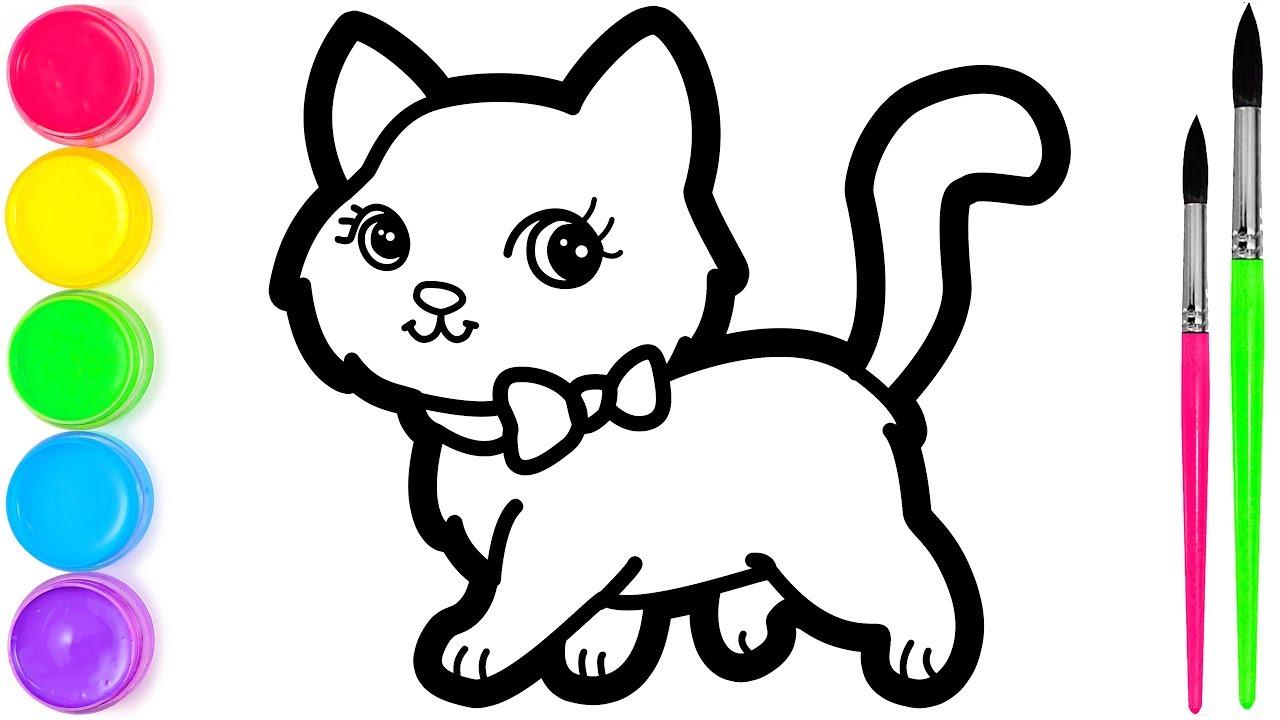 Cara Menggambar Dan Mewarnai Kucing Lucu Warna Warni Untuk Anak Anak Youtube