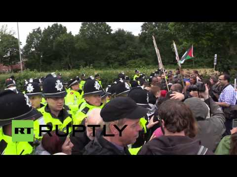 UK: Pro-Palestine protesters scuffle with police at Israeli arms factory