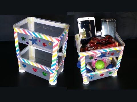Plastic Bottle & Sweet Box Rack   Plastic Bottle  Craft   Organizer From Waste Plastic Bottle & Box
