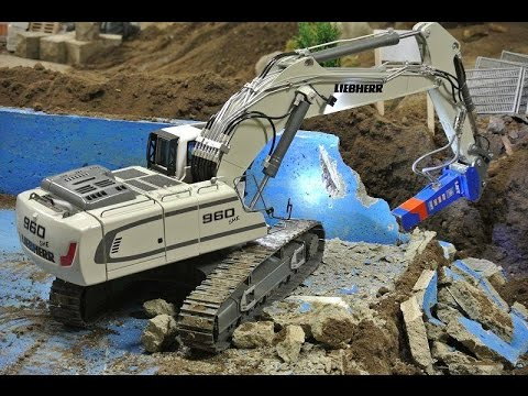 Liebherr 960 SME demolition of an outdoor pool