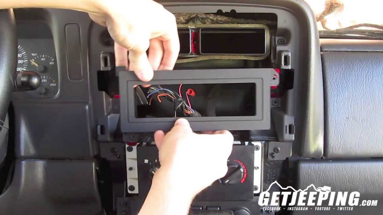 how to install radio head mount in 1997 2001 jeep cherokee xj getjeeping youtube [ 1280 x 720 Pixel ]