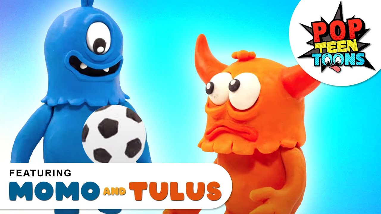 Momo and Tulus : FOOTBALL FRENZY | Funny Monsters Cartoon on Pop Teen Toons | Cartoons for Kids