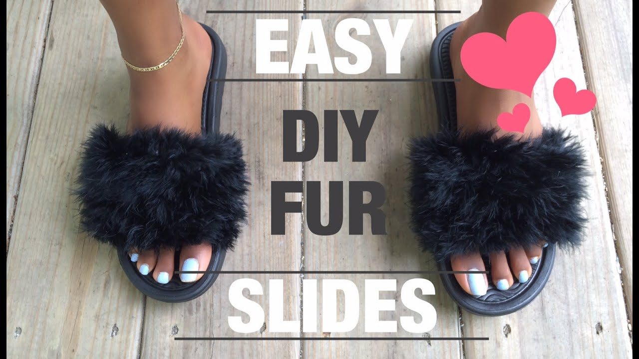 745ff21e10820 EASY!! DIY   FAUX FUR SLIDES UNDER  10