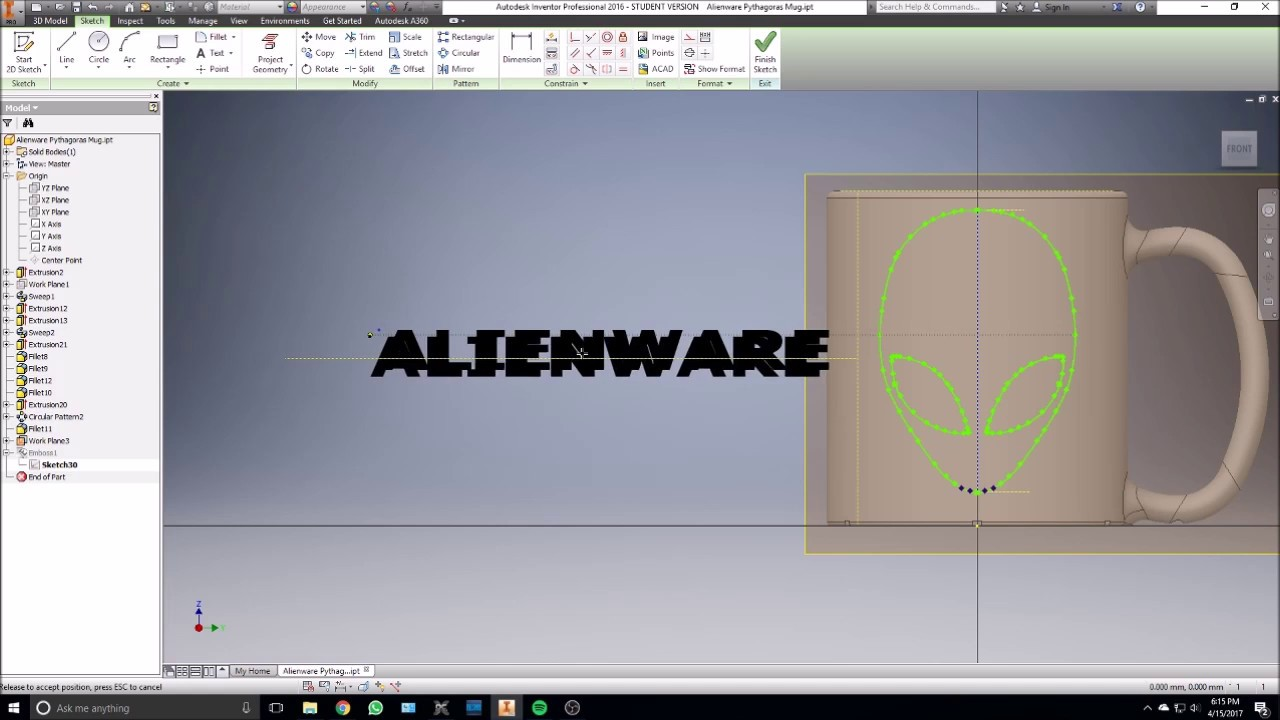 Asus gaming desktops amp monitors brochures from cee show 2016 singapore - Alienware Logo Emboss In Inventor Youtube