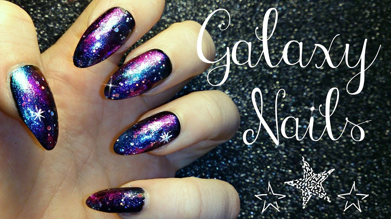 Easy Galaxy Nail Tutorial - YouTube