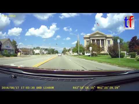Tour Port Huron -  Port Sanilac - Frankenmuth, Michigan, USA,  Dashcam, 08/7/2016.