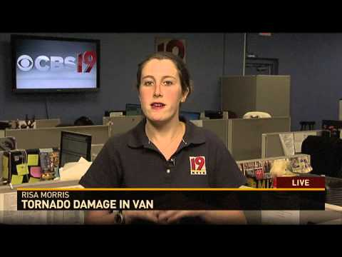 Tornado coverage in Van, TX