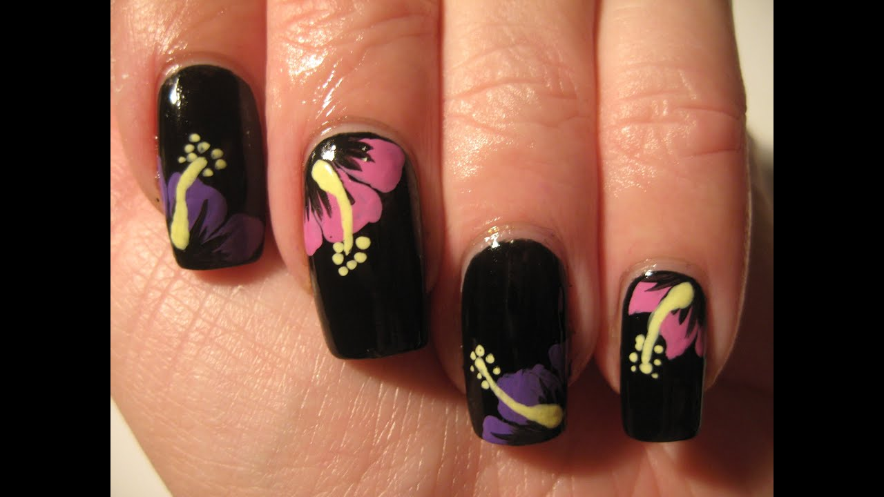 Nail Art Tropical Winter Flowers