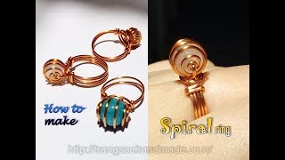 Spiral ring with spherical stone - Simple jewelry from copper wire 403