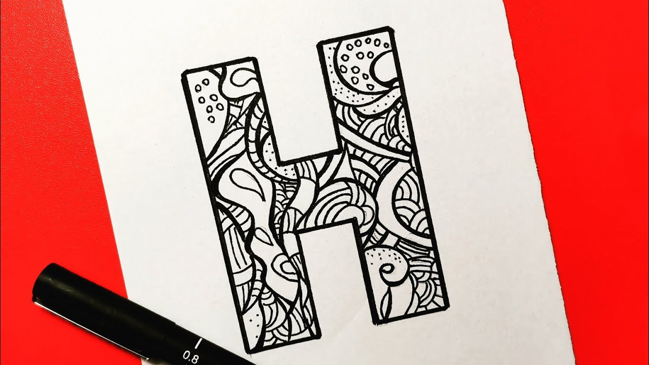 How To Draw H Letter With Mandala تعلم رسم ماندالا بسيطة وسهلة رسم حرف H خطوة بخطوة للمبتدئين Youtube
