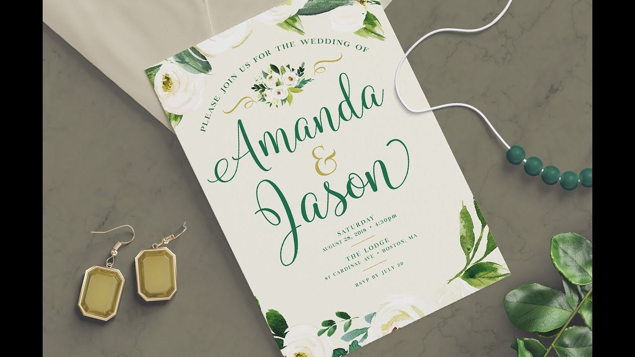 PHOTOSHOP TUTORIAL How to Create a Wedding Invitation Design YouTube