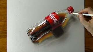 3D Art, Drawing Coca-Cola plastic bottle