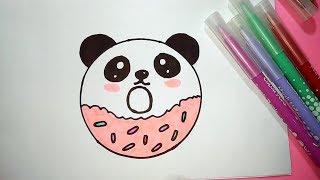 drawing draw pe panda donut drawings easy step paintingvalley