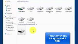 how to convert raw files to ntfs