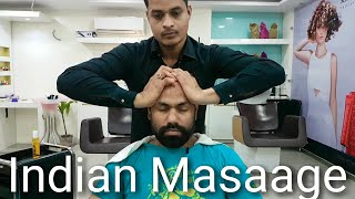 ASMR relaxing head massage with neck cracking by Indian barber.