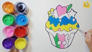 How to draw coloring and drawing ice cream - drawing a cake - children's drawing -Star child color