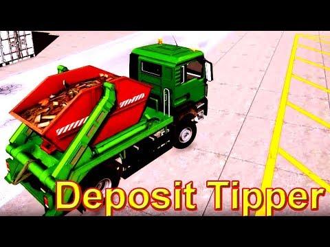 รถยกภาชนะขนขยะแบบแขนคู่   Deposit Tipper :  construction simulator 2015 / EP.1 [HD]