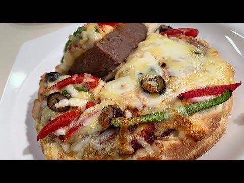 صورة  طريقة عمل البيتزا طريقة عمل بيتزا برجر | العزومة مع الشيف فاطمة أبو حاتي طريقة عمل البيتزا من يوتيوب
