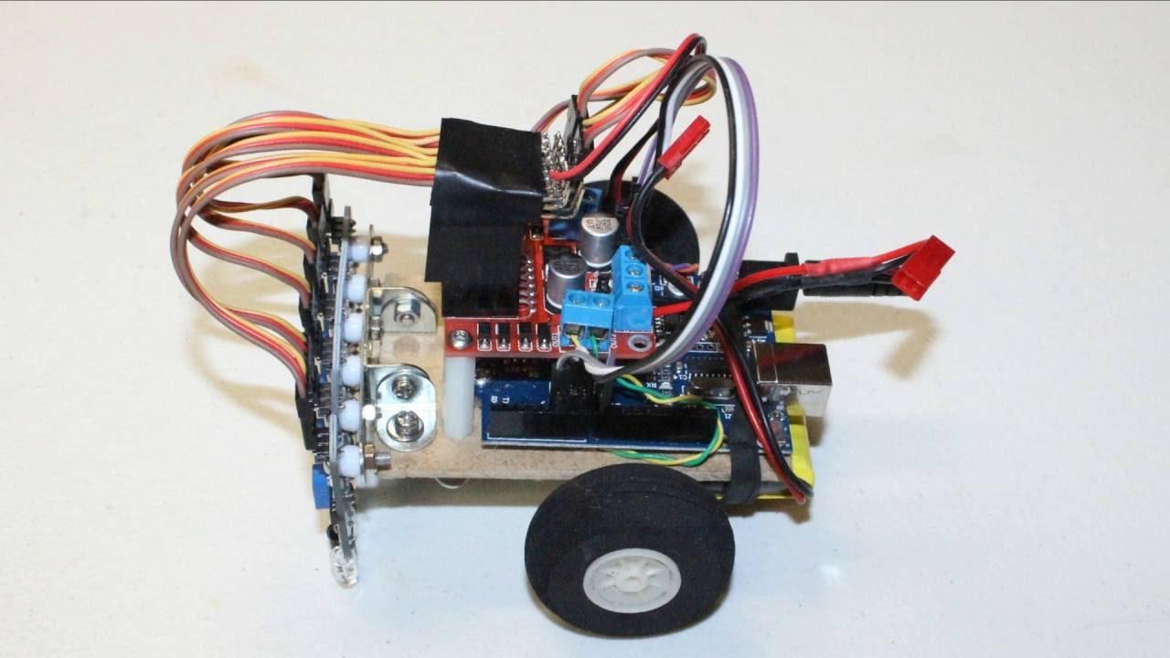 Arduino six ir sensor line following maze solving robot