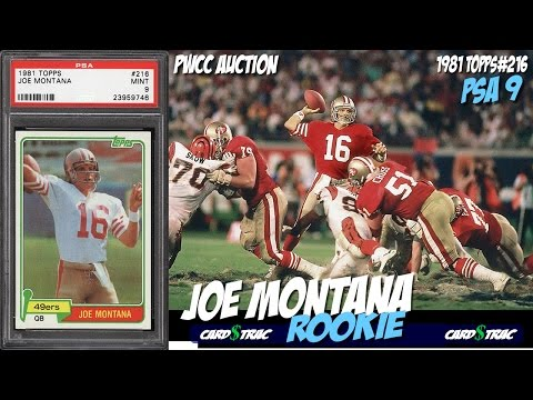 1981 Joe Montana rookie card Topps #216 for sale; graded PSA 9 PWCC Auctions