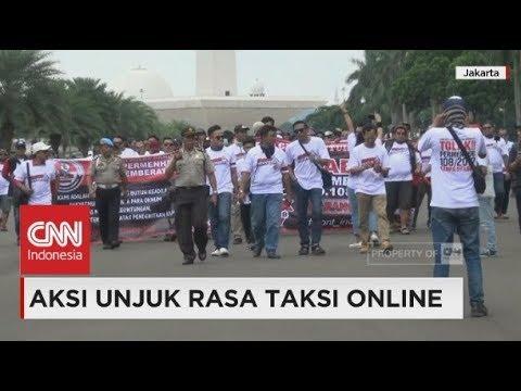 Aksi Unjuk Rasa Taksi Online Tolak Permenhub Nomor 108 Tahun 2017