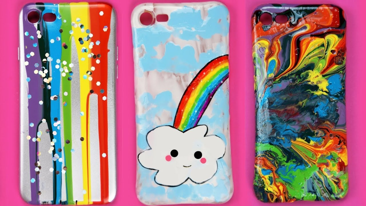 check out 89a2e 20d88 3 DIY RAINBOW PHONE CASES | Easy & Cute Phone Projects & iPhone Hacks 🌈🌈🌈