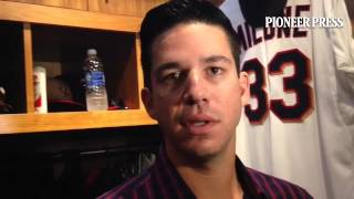 """Video 2: Tommy Milone says he felt """"tightness"""" in his elbow before DL stint. Better now.#MNTwins"""