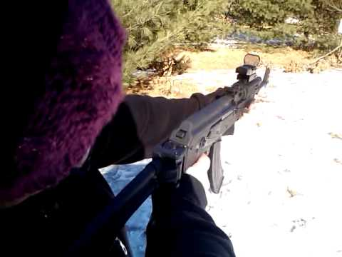 Girl shooting from AK 47 RIFLE - YouTube