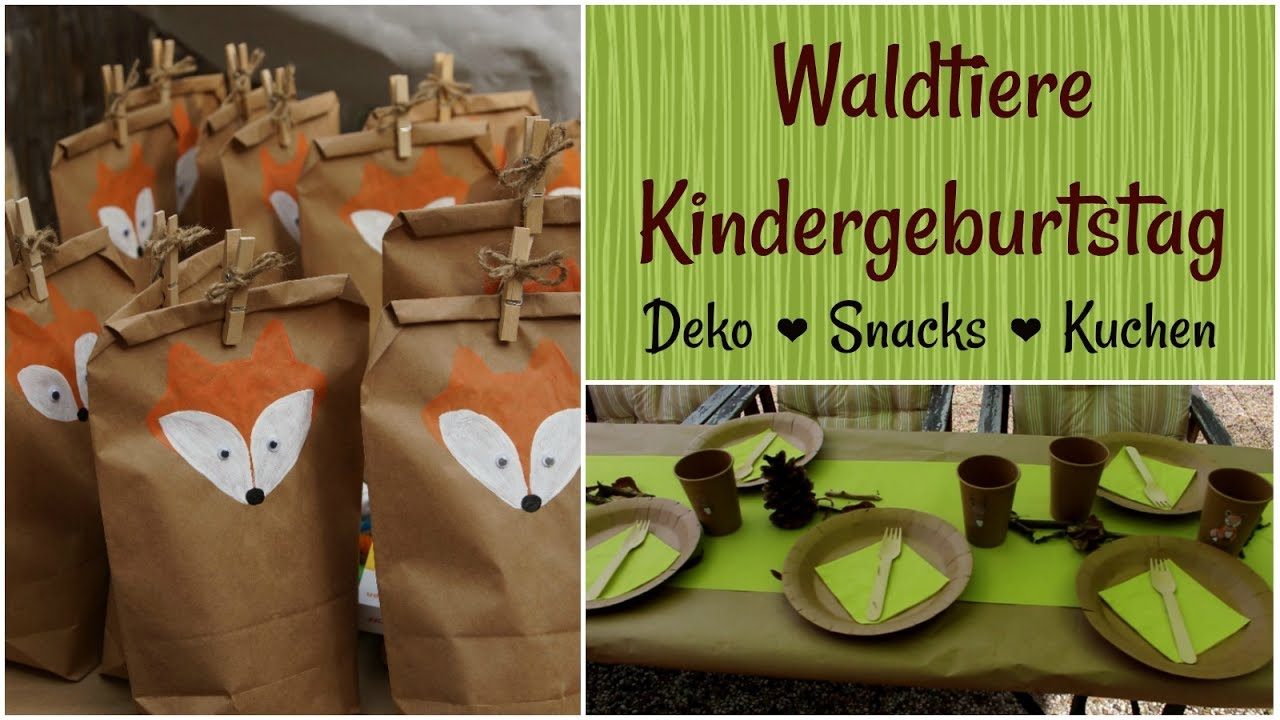 waldtiere kindergeburtstag diys deko snacks und kuchen youtube. Black Bedroom Furniture Sets. Home Design Ideas