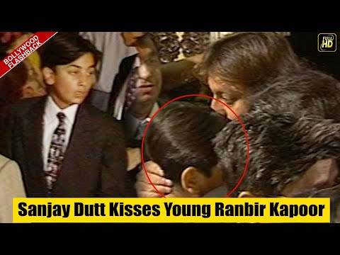 Sanjay Dutt Kisses Young Ranbir Kapoor At Rishi Kapoor's Prem Granth Premiere I Bollywood Flashback