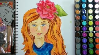 Coloring Art Journal Faces with Watercolor Markers!