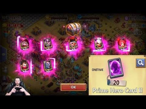 Opening 20 Prime TWO Hero Cards AT ONCE Walla Creation Castle Clash
