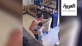 أب يهرع لحماية طفله بجسمه لحظة وقوع انفجار #بيروت الهائل