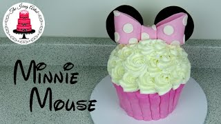 Giant Buttercream Minnie Mouse Cupcake Cake - How To With The Icing Artist