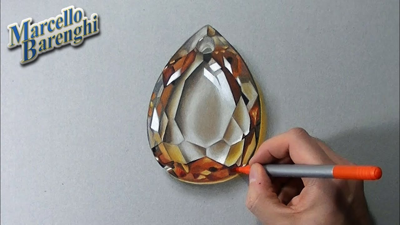 Drawing Time Lapse: golden topaz gemstone - YouTube
