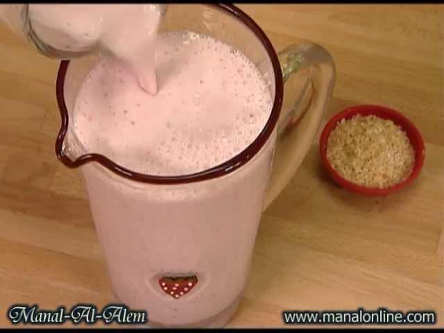 شراب الفراولة مع حليب جوز الهند - مطبخ منال العالم