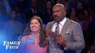 Can Jessica pull off an incredible Fast Money comeback? | Family Feud