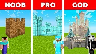 Minecraft - NOOB vs PRO vs HACKER: SAFEST CASTLE BASE CHALLENGE in Minecraft / Animation