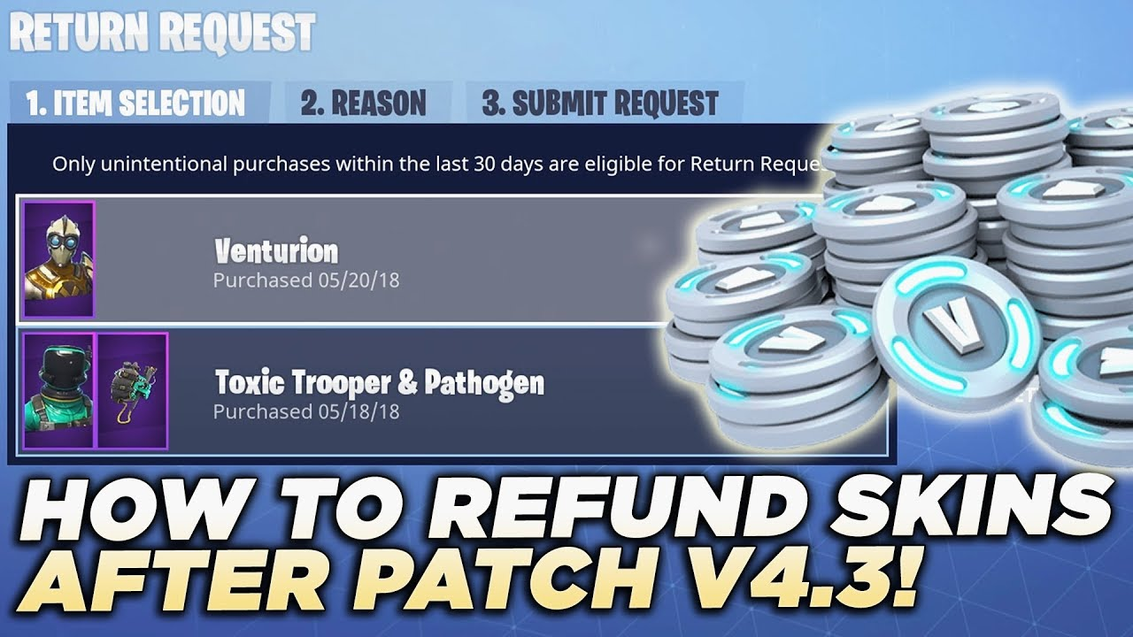 HOW TO REFUND SKINS AND EMOTES AFTER UPDATE V4 3 in Fortnite Battle Royale!  (NEW REFUND SYSTEM)