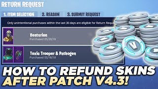 HOW TO REFUND SKINS AND EMOTES AFTER UPDATE V4.3 in Fortnite Battle Royale! (NEW REFUND SYSTEM)