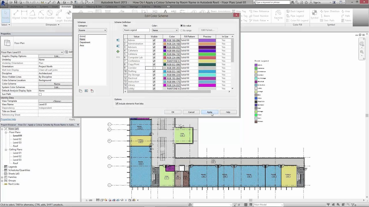 How Do I Apply A Colour Scheme By Room Name In Autodesk
