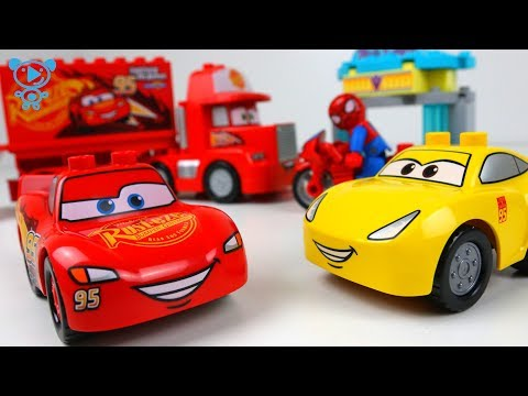 Thumbnail: Lego Duplo Cars 3 toys cartoon stop motion - Spiderman & McQueen Cars 3 Toys for kids children 4K
